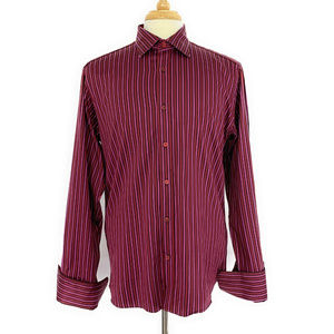 Ted Baker Button Front Dress Shirt 4 Red Stripe